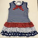 Baby Gantz Nautical Royal Blue Stripe Ruffle Dress