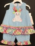 Bonnie Baby 2 pc Blue Check Seersucker w/ Applique Rabbit R09282-PV Aqu