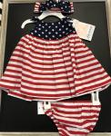 Bonnie Baby Nautical Stars and Stripe  2 Pc Dress w/HB M08016-PV RED