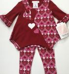 Bonnie Jean 2pc Red top Hearts w/Pink and Red Heart Legging R09139-PT