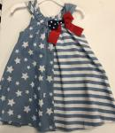 Bonnie Jean Nautical Light Chambray Flag Dress S19561-PV Blu