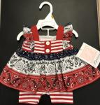 Bonnie Jean Nautical Paisley swing top w/ R/W stripe shorts M03062-PS RED