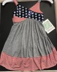 Bonnie Jean Sparkle Flag Top Dress w/ Gray knit bottom