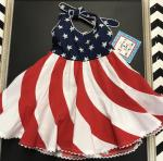 Cotton Kids Nautical Red & White Halter Swirl Dress CK3625