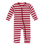 Infant Coveral w/zip Candy Cane Stripe 2019