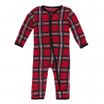 Infant Coveral w/zip Christmas Plaid 2019