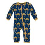 Infant Coveral w/zip Navy Camel