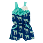 KK Print Flower Romper w/pockets Flag Blue Unicorns