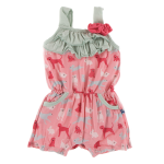 KK Print Flower Romper w/pockets Strawberry Domestic Animals