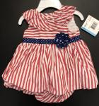 Little Me Nautical Bubble R/W Stripe Blue Star flower Red Stripe L648