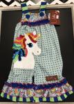 Millie Jay Romper Applique Unicorn head Royal Blue & lime green Ruffle