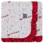 Ruffle Stroller Blanket Natural Flying Santa