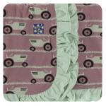 Ruffle Stroller Blanket Raisin Tractor and Grass