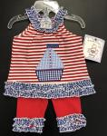Three Sisters Nautical 2 pc shorts R/W Stripe Blue Gingham Ruffle Applique Sailboat
