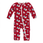 Toddler Coveral w/zip Crimson Puppies and presents