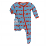 Toddler Footie w/zipper Blue Moon Crab Family