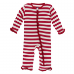 Toddler Ruffle Coveral w/zip Candy Cane Stripe 2019