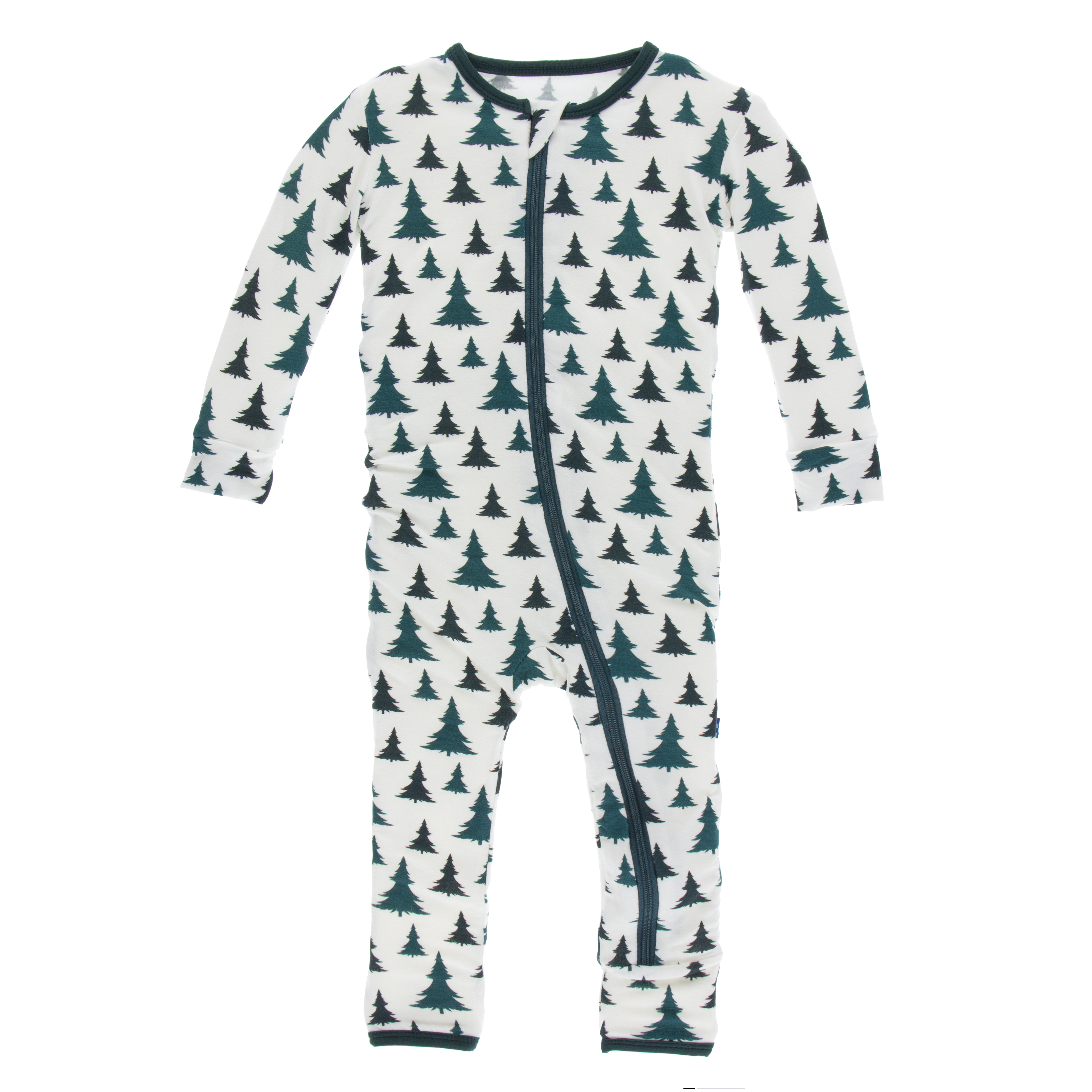Useful Kickee Pants Natural Christmas Tree Muffin Ruffle Footie With Zipper New 2t Baby & Toddler Clothing Girls' Clothing (newborn-5t)