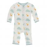 Infant Coveral w/Zipper Natural Puddle Duck