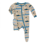 Infant Footie w/ zipper Burlap Sharks